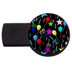 Party Pattern Star Balloon Candle Happy Usb Flash Drive Round (4 Gb)