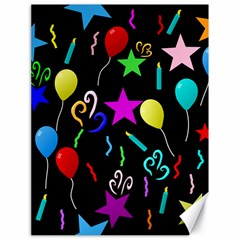 Party Pattern Star Balloon Candle Happy Canvas 18  X 24   by Mariart