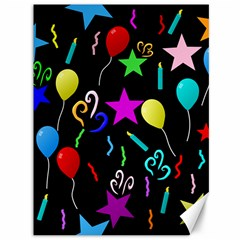 Party Pattern Star Balloon Candle Happy Canvas 36  X 48   by Mariart