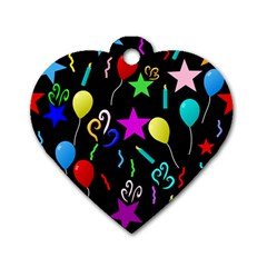 Party Pattern Star Balloon Candle Happy Dog Tag Heart (one Side) by Mariart