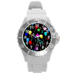 Party Pattern Star Balloon Candle Happy Round Plastic Sport Watch (l) by Mariart