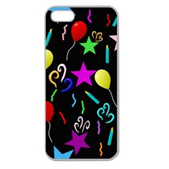 Party Pattern Star Balloon Candle Happy Apple Seamless Iphone 5 Case (clear) by Mariart