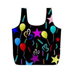 Party Pattern Star Balloon Candle Happy Full Print Recycle Bags (m)  by Mariart