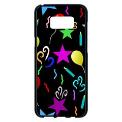Party Pattern Star Balloon Candle Happy Samsung Galaxy S8 Plus Black Seamless Case
