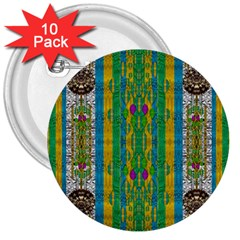Rainbows Rain In The Golden Mangrove Forest 3  Buttons (10 Pack)  by pepitasart