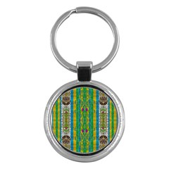 Rainbows Rain In The Golden Mangrove Forest Key Chains (round)  by pepitasart