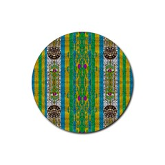 Rainbows Rain In The Golden Mangrove Forest Rubber Round Coaster (4 Pack)