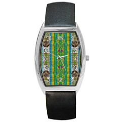 Rainbows Rain In The Golden Mangrove Forest Barrel Style Metal Watch by pepitasart