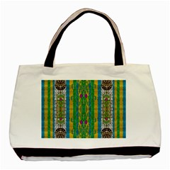 Rainbows Rain In The Golden Mangrove Forest Basic Tote Bag by pepitasart