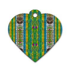 Rainbows Rain In The Golden Mangrove Forest Dog Tag Heart (two Sides) by pepitasart
