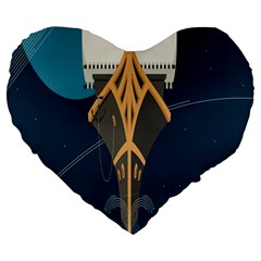 Planetary Resources Exploration Asteroid Mining Social Ship Large 19  Premium Heart Shape Cushions by Mariart