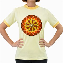 Ornaments Art Line Circle Women s Fitted Ringer T Shirts