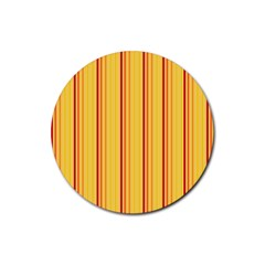 Red Orange Lines Back Yellow Rubber Round Coaster (4 Pack)