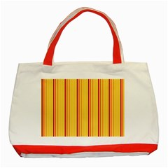 Red Orange Lines Back Yellow Classic Tote Bag (red) by Mariart