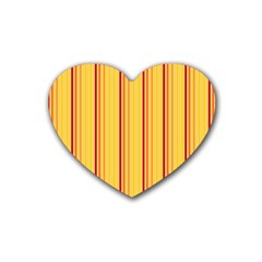Red Orange Lines Back Yellow Heart Coaster (4 Pack)  by Mariart