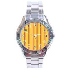 Red Orange Lines Back Yellow Stainless Steel Analogue Watch by Mariart