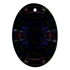 Psychic Color Circle Abstract Dark Rainbow Pattern Wallpaper Ornament (oval) by Mariart