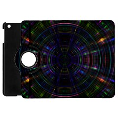 Psychic Color Circle Abstract Dark Rainbow Pattern Wallpaper Apple Ipad Mini Flip 360 Case by Mariart