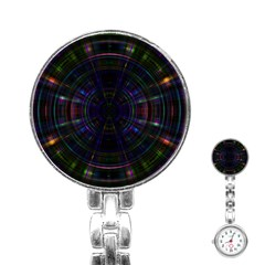 Psychic Color Circle Abstract Dark Rainbow Pattern Wallpaper Stainless Steel Nurses Watch