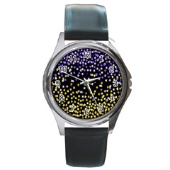Space Star Light Gold Blue Beauty Round Metal Watch by Mariart