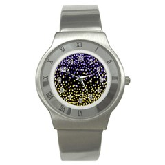 Space Star Light Gold Blue Beauty Stainless Steel Watch by Mariart
