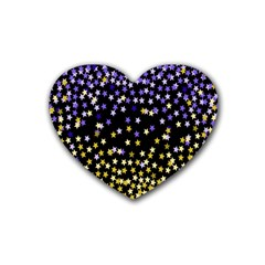 Space Star Light Gold Blue Beauty Rubber Coaster (heart)  by Mariart