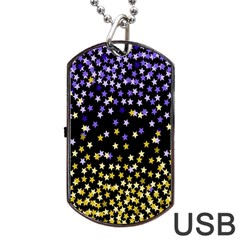 Space Star Light Gold Blue Beauty Dog Tag Usb Flash (one Side) by Mariart