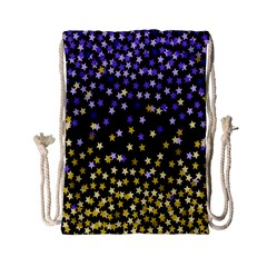 Space Star Light Gold Blue Beauty Drawstring Bag (small) by Mariart