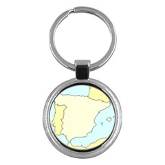 Spain Map Modern Key Chains (round)  by Mariart