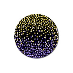 Space Star Light Gold Blue Beauty Black Magnet 3  (round) by Mariart