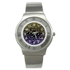 Space Star Light Gold Blue Beauty Black Stainless Steel Watch by Mariart
