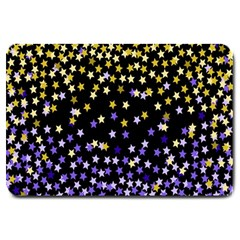 Space Star Light Gold Blue Beauty Black Large Doormat
