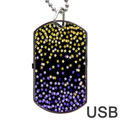 Space Star Light Gold Blue Beauty Black Dog Tag Usb Flash (two Sides) by Mariart