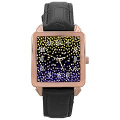 Space Star Light Gold Blue Beauty Black Rose Gold Leather Watch  by Mariart
