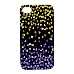 Space Star Light Gold Blue Beauty Black Apple Iphone 4/4s Hardshell Case With Stand by Mariart