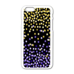 Space Star Light Gold Blue Beauty Black Apple Iphone 6/6s White Enamel Case by Mariart