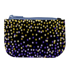 Space Star Light Gold Blue Beauty Black Large Coin Purse by Mariart