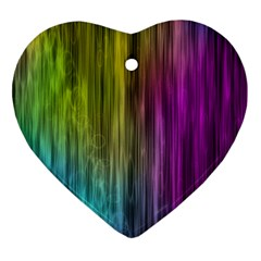 Rainbow Bubble Curtains Motion Background Space Heart Ornament (two Sides) by Mariart