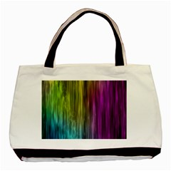 Rainbow Bubble Curtains Motion Background Space Basic Tote Bag (two Sides) by Mariart