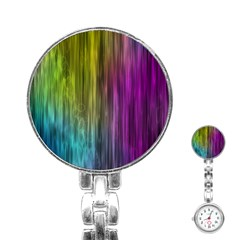 Rainbow Bubble Curtains Motion Background Space Stainless Steel Nurses Watch by Mariart