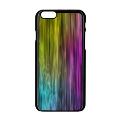 Rainbow Bubble Curtains Motion Background Space Apple Iphone 6/6s Black Enamel Case by Mariart