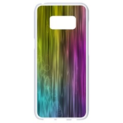 Rainbow Bubble Curtains Motion Background Space Samsung Galaxy S8 White Seamless Case by Mariart