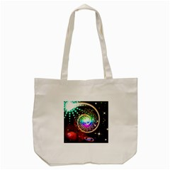 Space Star Planet Light Galaxy Moon Tote Bag (cream) by Mariart