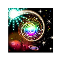 Space Star Planet Light Galaxy Moon Small Satin Scarf (square) by Mariart