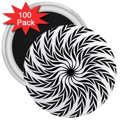 Spiral Leafy Black Floral Flower Star Hole 3  Magnets (100 Pack) by Mariart
