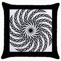 Spiral Leafy Black Floral Flower Star Hole Throw Pillow Case (black) by Mariart