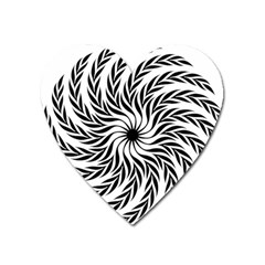 Spiral Leafy Black Floral Flower Star Hole Heart Magnet by Mariart