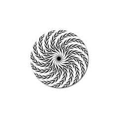 Spiral Leafy Black Floral Flower Star Hole Golf Ball Marker by Mariart