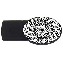 Spiral Leafy Black Floral Flower Star Hole Usb Flash Drive Oval (2 Gb) by Mariart