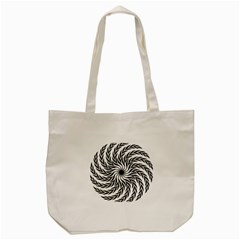Spiral Leafy Black Floral Flower Star Hole Tote Bag (cream) by Mariart